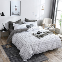 Pillowcase Bed-Sheet Duvet-Cover Plaid-Bedding-Sets Bed Linens Black Simple Double Single