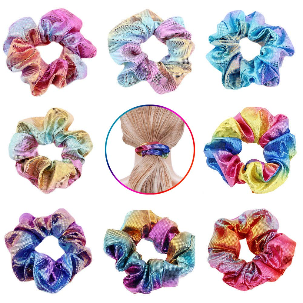 4-16Pcs Shiny Metallic Hair Scrunchies Ponytail Holder Elastic Hair Ties Bands