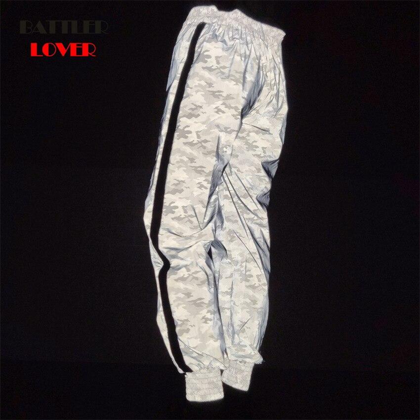 Dropship hip hop lightning reflective pants women joggers sweatpants womens streetwear night light shiny blink pants for couples