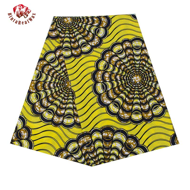 Free Shipping African Wax Cotton fabric 2019 Circle Flower patern Cotton Fabric Fashion African Fabric Material 6 Yards 24FS1360