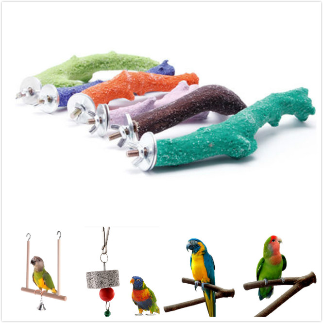 7Styles Parrot Toys Wood Birds Standing Chewing Rack Toys Bead Ball Heart Star Shape Parrot Toy Bird Toys Accessories Supplies