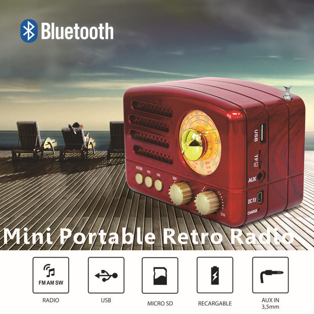 Radio Bluetooth Speaker Retro Vintage Mini Portable Red/coffee SW Slot FM USB Home 1pcs title=