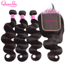 Queenlike Closure Human-Hair-Bundles Body-Wave Double-Weft Brazilian 6x6 with Big Lace