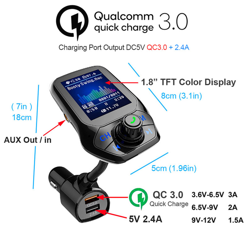 Victsing Bluetooth FM Transmitter Wireless Adapter 3 USB Charger AUX TF Player