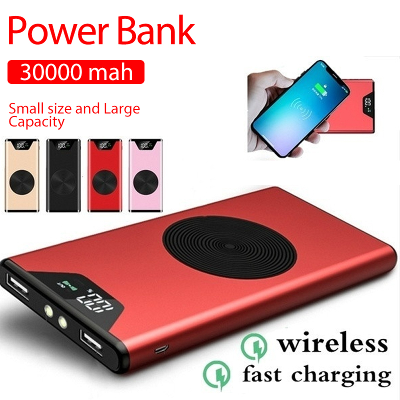 Portable Charger Power-Bank External-Battery 30000mah Mobile Ultra-Thin USB High-Capacity title=