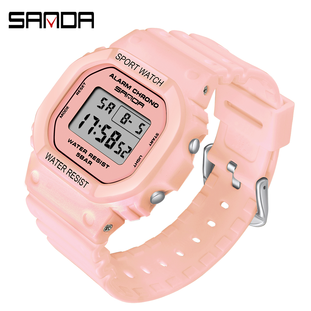 SANDA Digital Watches Jelly White Waterproof Green Women Ladies Relogio New Sport Feminino title=