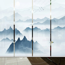 New Chinese roller blinds living room Hanging screen room divider Screen partition curtain Chinese curtain(China)