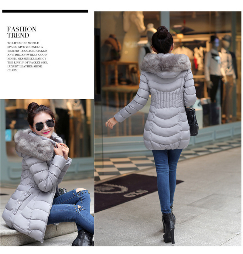 Winter Long Women Coats Parkas Slim Pleated Black Female Coat Outwear Fashion Disassembled Hooded Cotton Women Jackets MLD1271 5