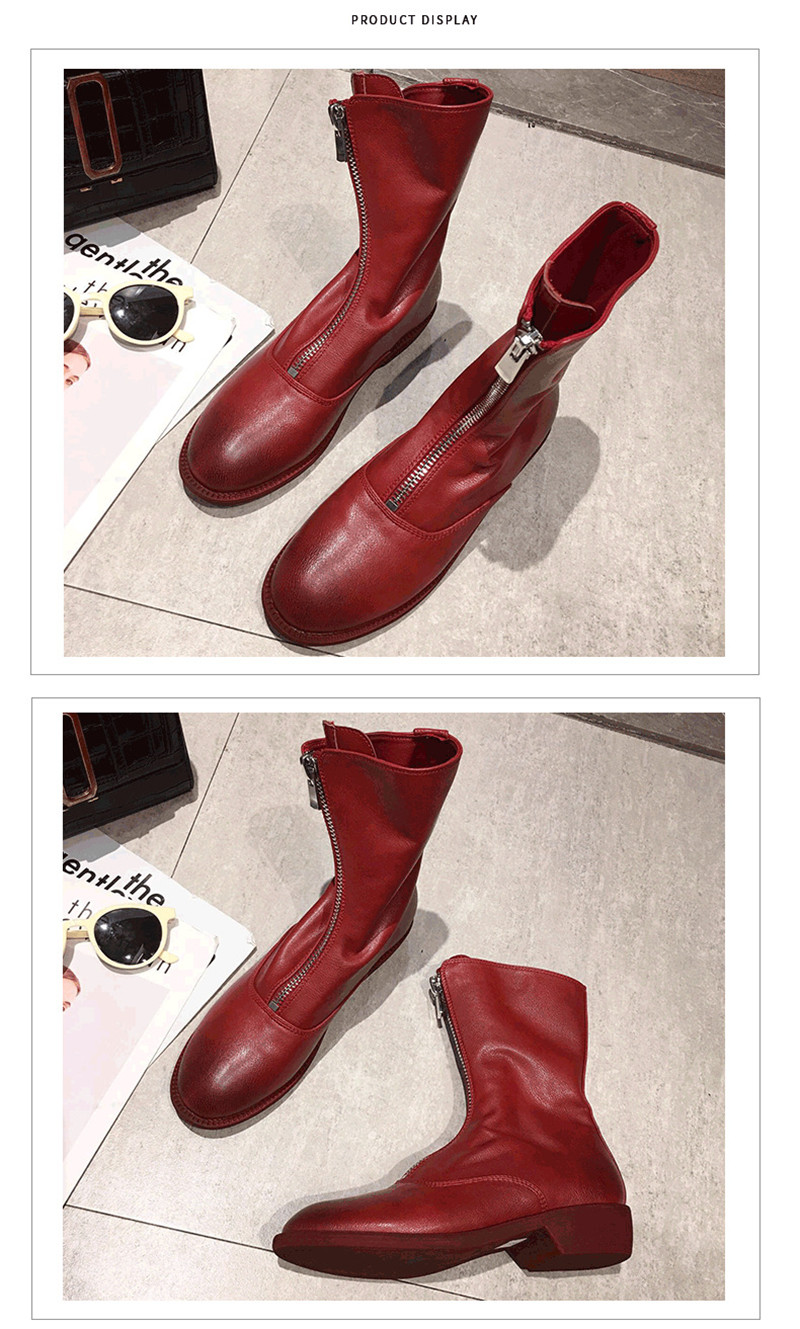 Winter Autumn Women Ankle Boots Punk Front Zipper Ladies Shoes PU Leather Boots Women Low Heels Female Shoes Pump Botas Mujer (5)