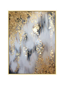 on Canvas Oil-Painting Abstract Home-Decor Handmade Big-Size Gold Thick-Knife Gray Gorgeous