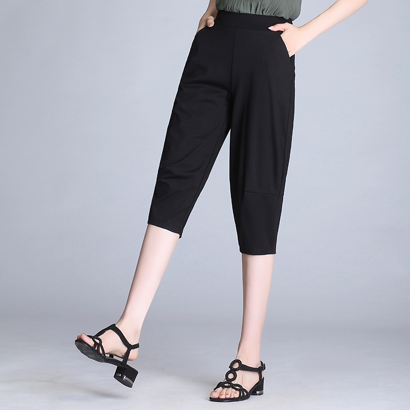 2020 Women/'s Summer Capris Black Pants Loose Stretch Trousers Casual High Waist Harem Pants Plus Size 4XL 5XL 6XL