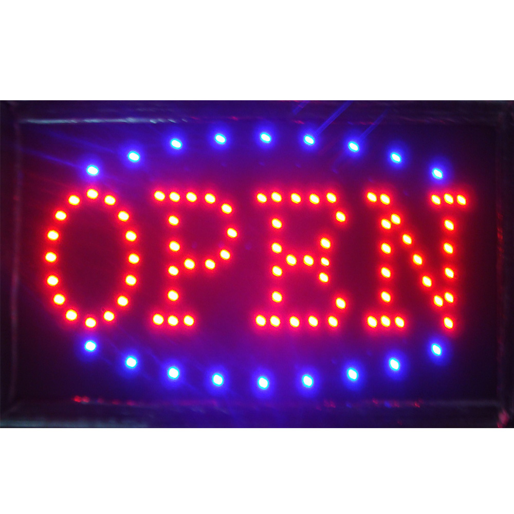 Bright 24 Hours Open Sign Flashing LED Neon Animated Business Light Club Pub Bar