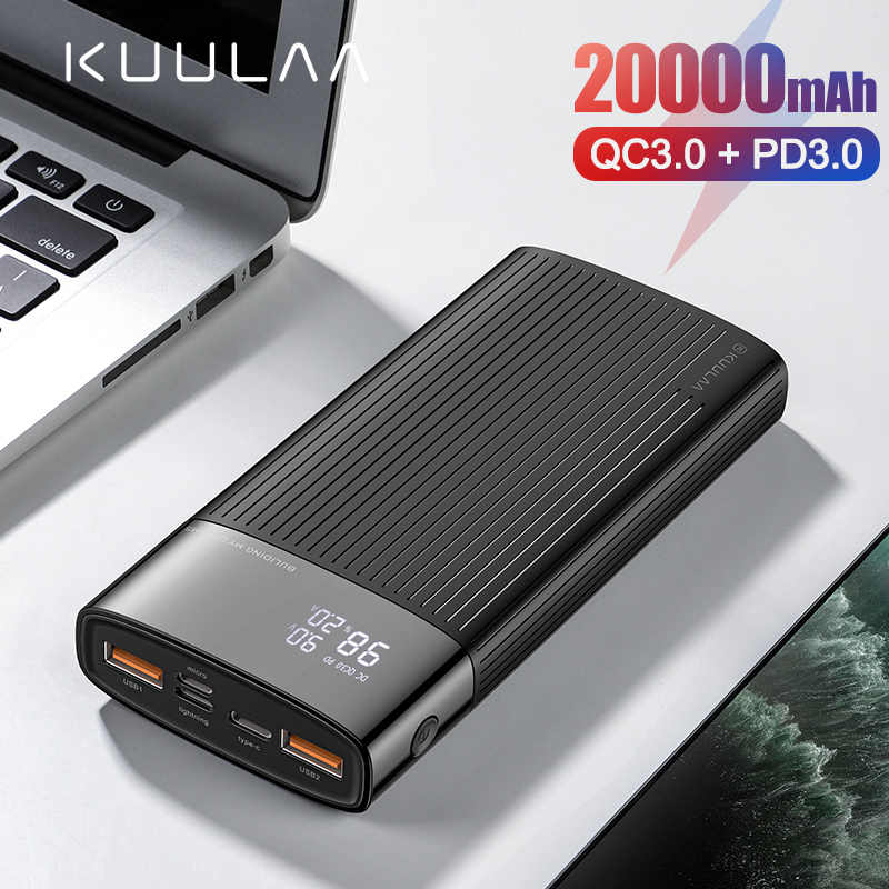 KUULAA power Bank 20000 mAh usb type C PD Быстрая зарядка + Quick Charge 3,0 power Bank 20000 mAh Внешняя батарея для Xiaomi iPhone