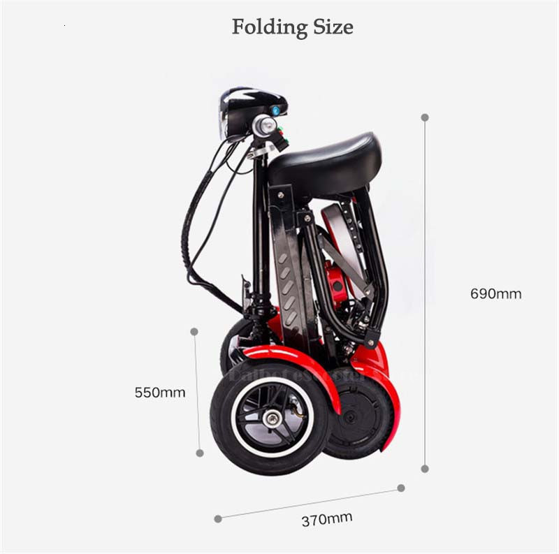 Daibot Electric Elderly Scooter 4 Wheels Electric Scooters 10 Inch 500W Foldable Electric Scooter For Disabled BlueBlackRed (21)
