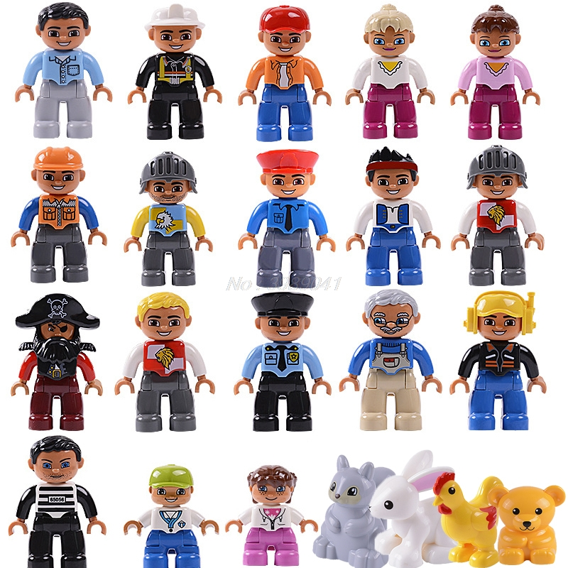 Duplo Locking Friends Figures City Princess Pirate Policemen Prisoner Lockings Duplo Animals Boy Girl Kids Toys Building Blocks