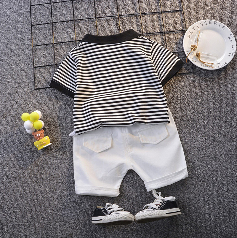 Boy Clothes Casual Fashion Suit Car Print Top Turn-down Collar T-shirt Shorts Set for Baby Children Cute Little Boys Summer Sets