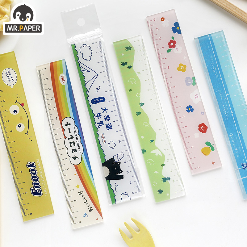 Mr.paper 8 Designs 15cm Acrylic Snack Color Ruler Multifunction DIY Drawing Rulers For Kids Students Office School Stationery