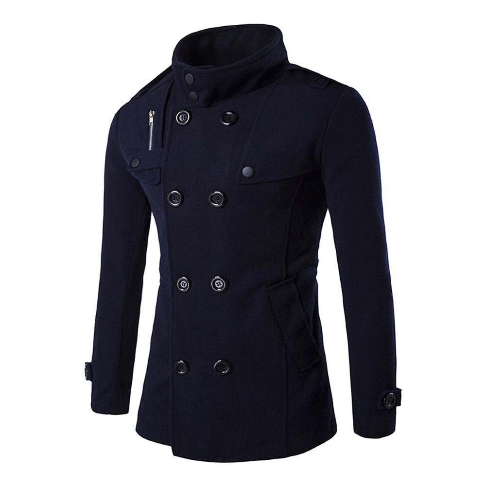 Coat Workwear Woolen Men's Casual New-Fashion Windbreaker Long Warm Thick Smart Full title=