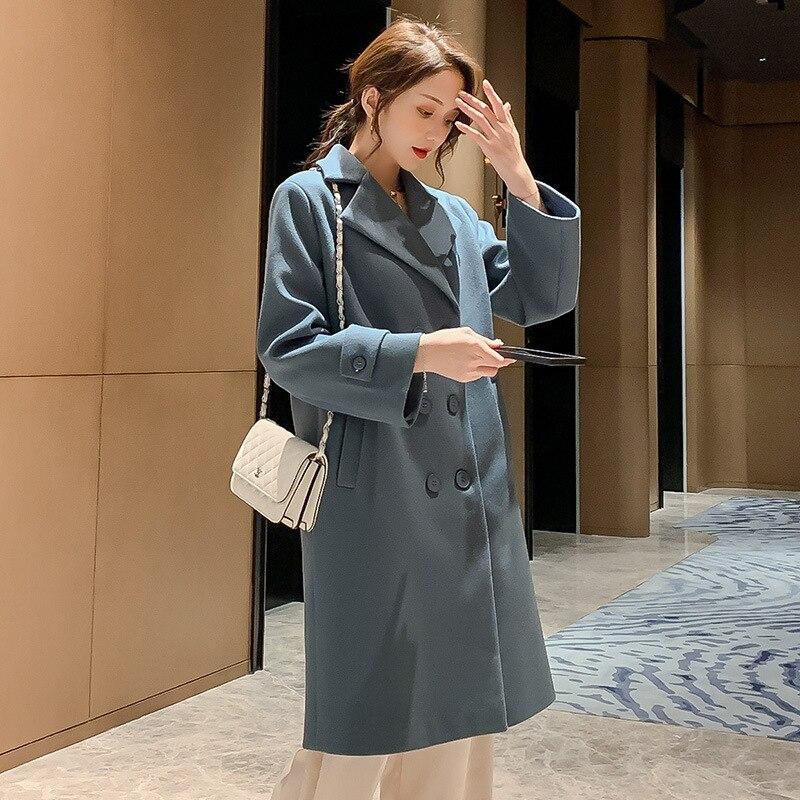 Women/'s Red Coats New 2019 Autumn Winter Women Long Leisure Coat Fashion Blue Wool Blends Jacket Elegant Jackets Coats Blend Top