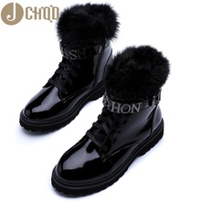 JCHQD Women Shoes Martin-Boots Lace-Up Ankle-Fur Warm European-Size Winter True-Hair