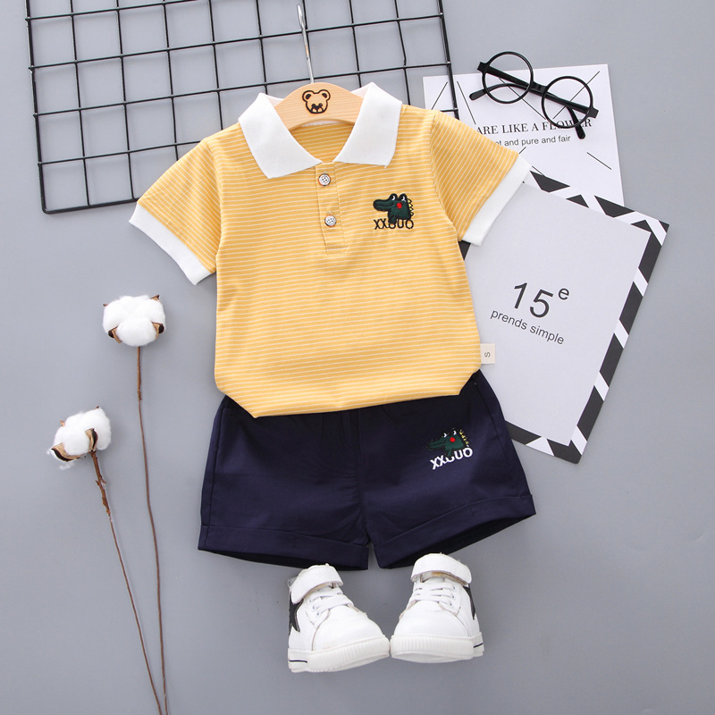 FashionCasual Toddler Outfits Baby Boy Summer Clothes Newborn Boy Clothing Set Sports T-shirt+ Shorts Suits Leaves Print Clothes