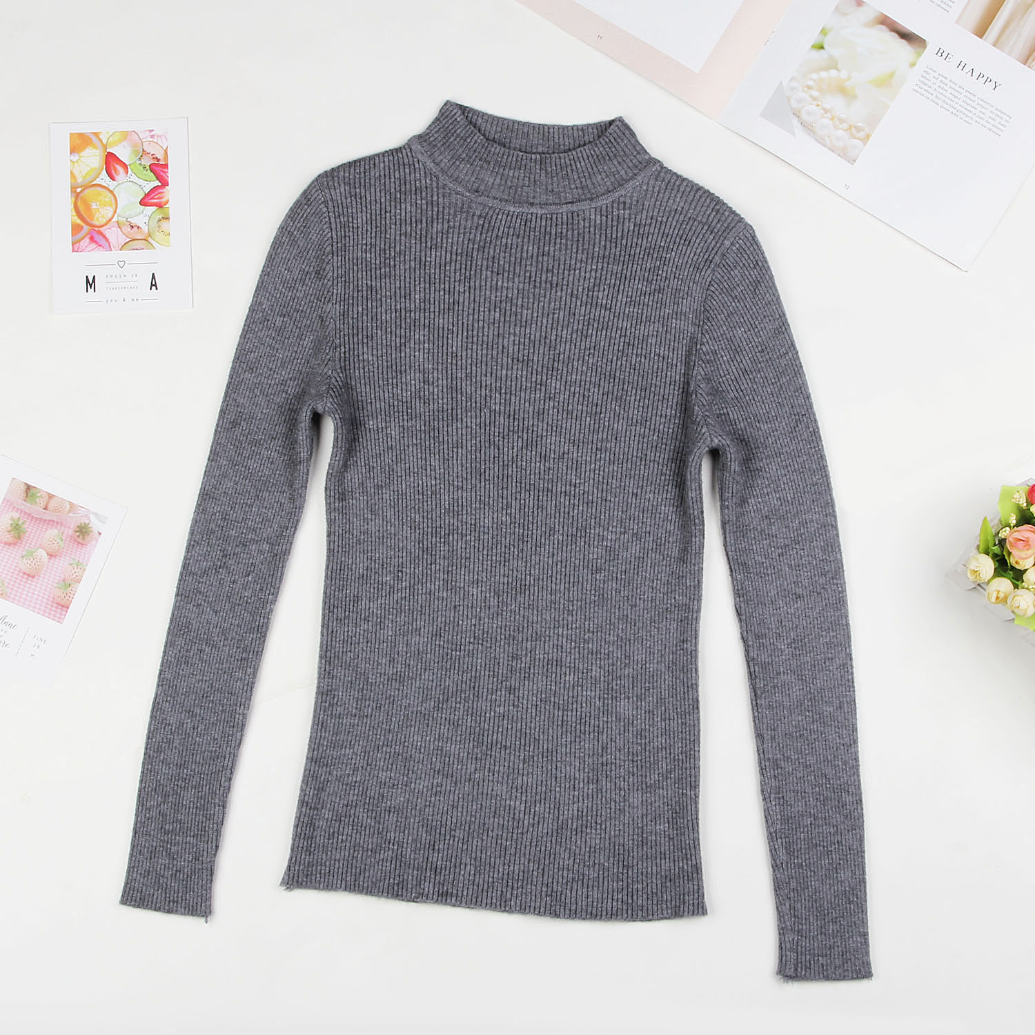 DeRuiLaDy 19 Fall New Women Turtleneck Sweater Pullover Black Pink Knitted Slim Sweaters Tops Winter Casual Sweater Jumper Top 12