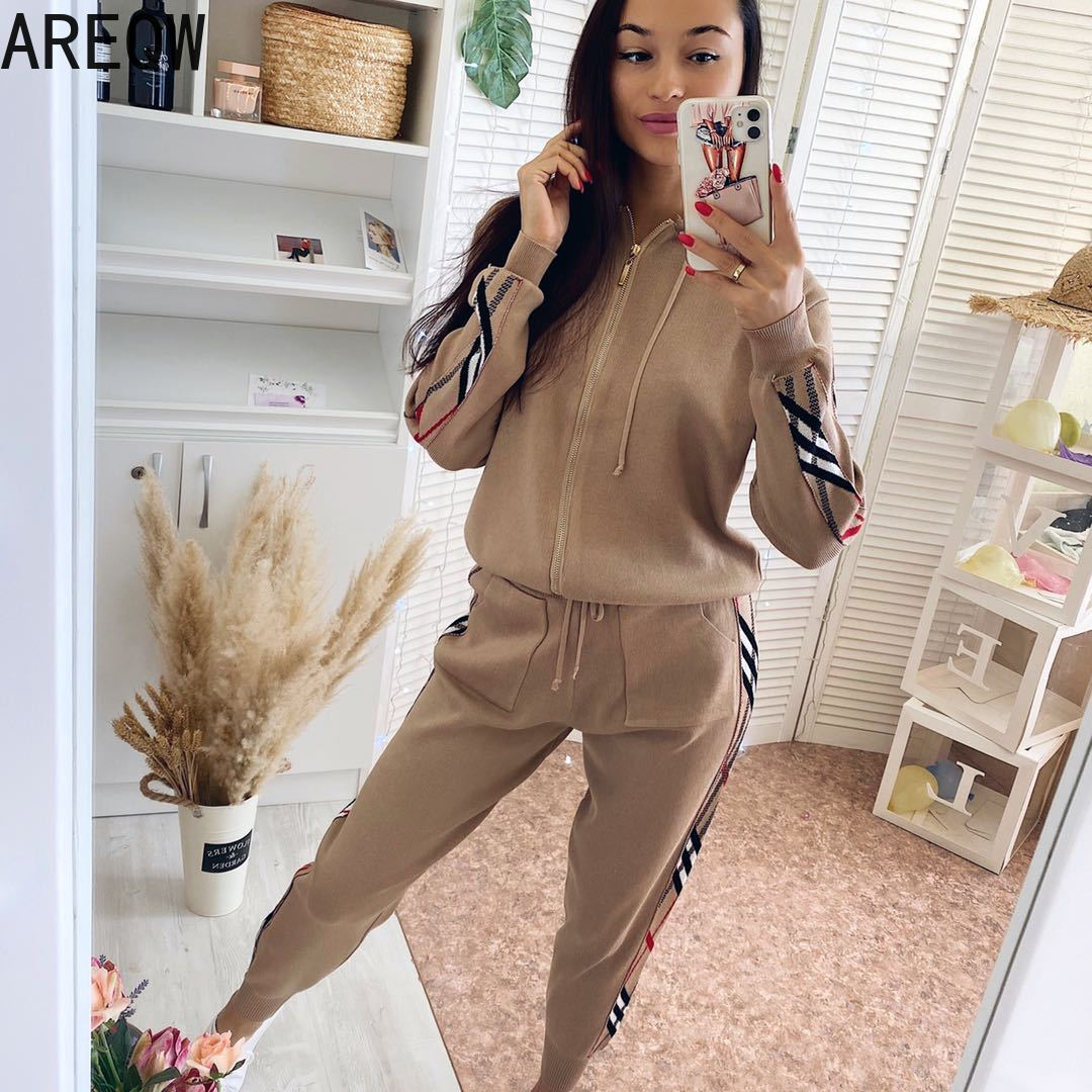 Casual Tracksuits Women Female 2020 New Autumn Fashion Slimming Knitted Hooded Sweater Two-Piece Set 2piece Set Women