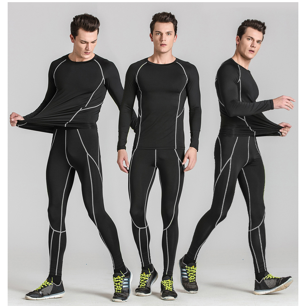 2019 Men compression base layer running pants shirts sets Sweat Quick Drying Thermo Underwear soccer sports suit