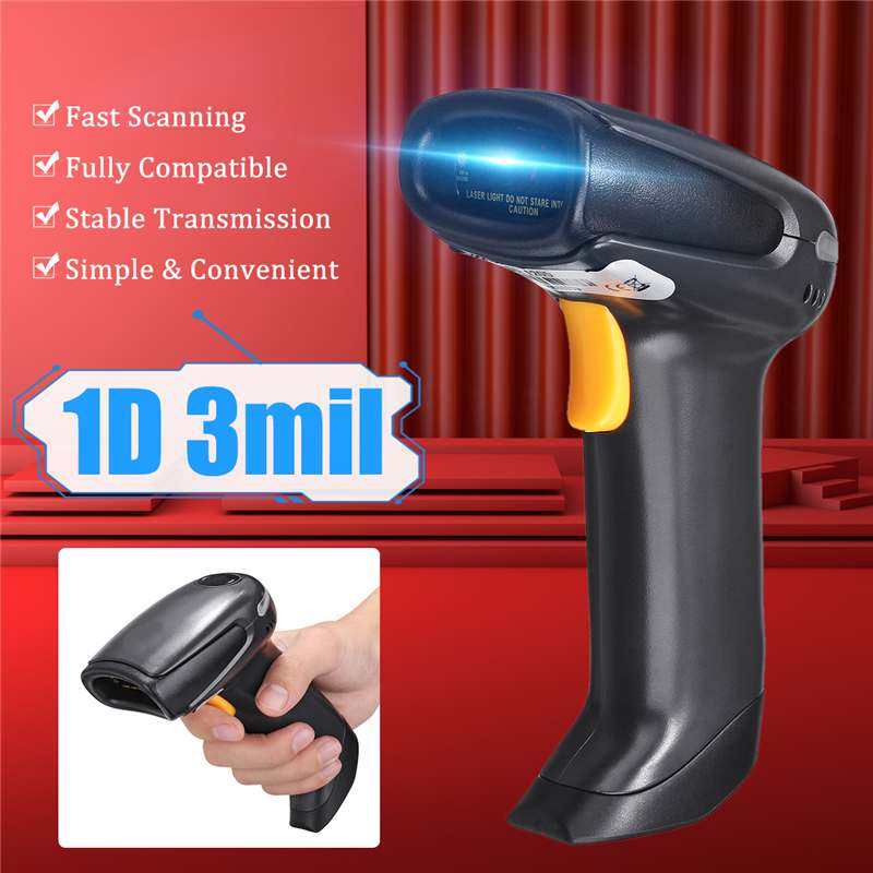 Barcode Scanner Light-Reader POS Handheld CCD USB with Usb-Cable Wire-Dc3.5-5.5v Red title=