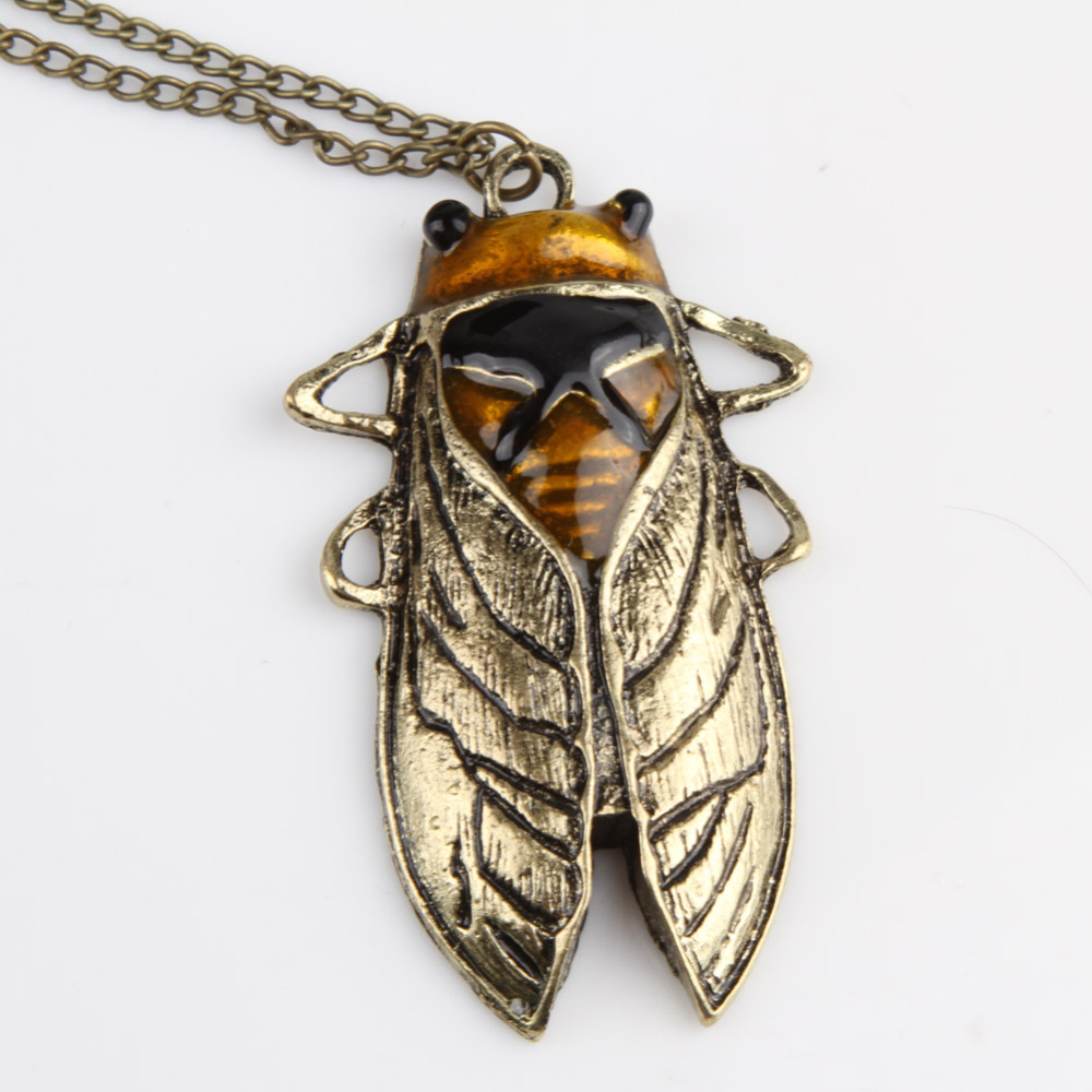 Charm Vintage Bronze Tone Metal Insect Cicada Pendant Sweater Necklace