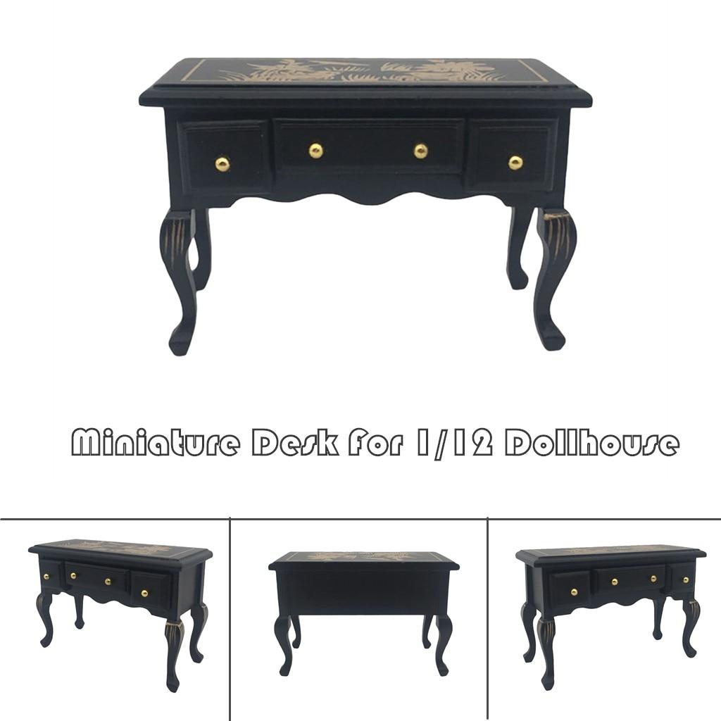 Casa De Muñecas Mesa de Escritura De Escritorio Negro Con Cajón Muebles Miniatura 1:12 estudio
