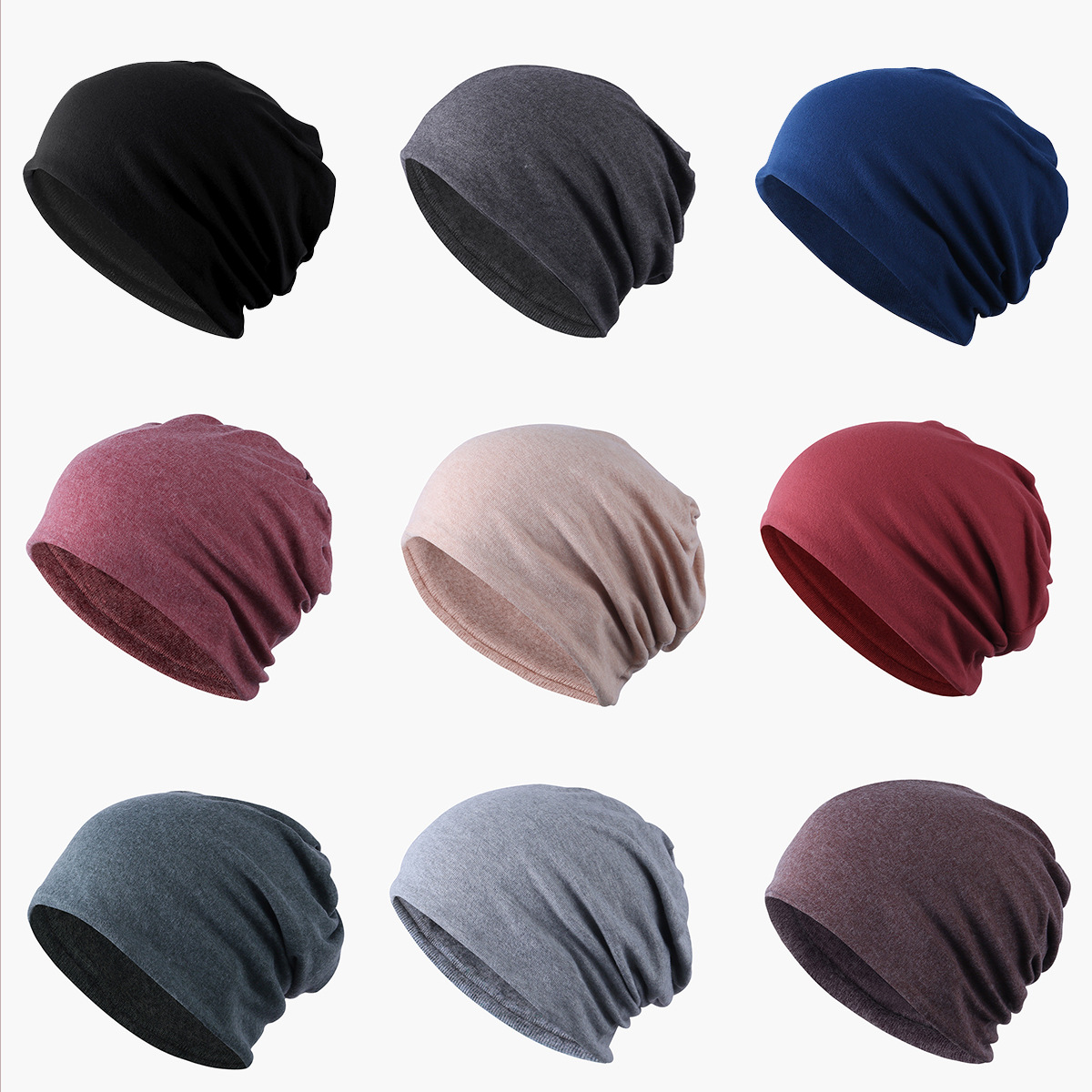 Hats Bonnet-Hat Women Beanies Knit Unisex Cotton Solid-Color Layer Fabric-Caps Hedging-Cap title=
