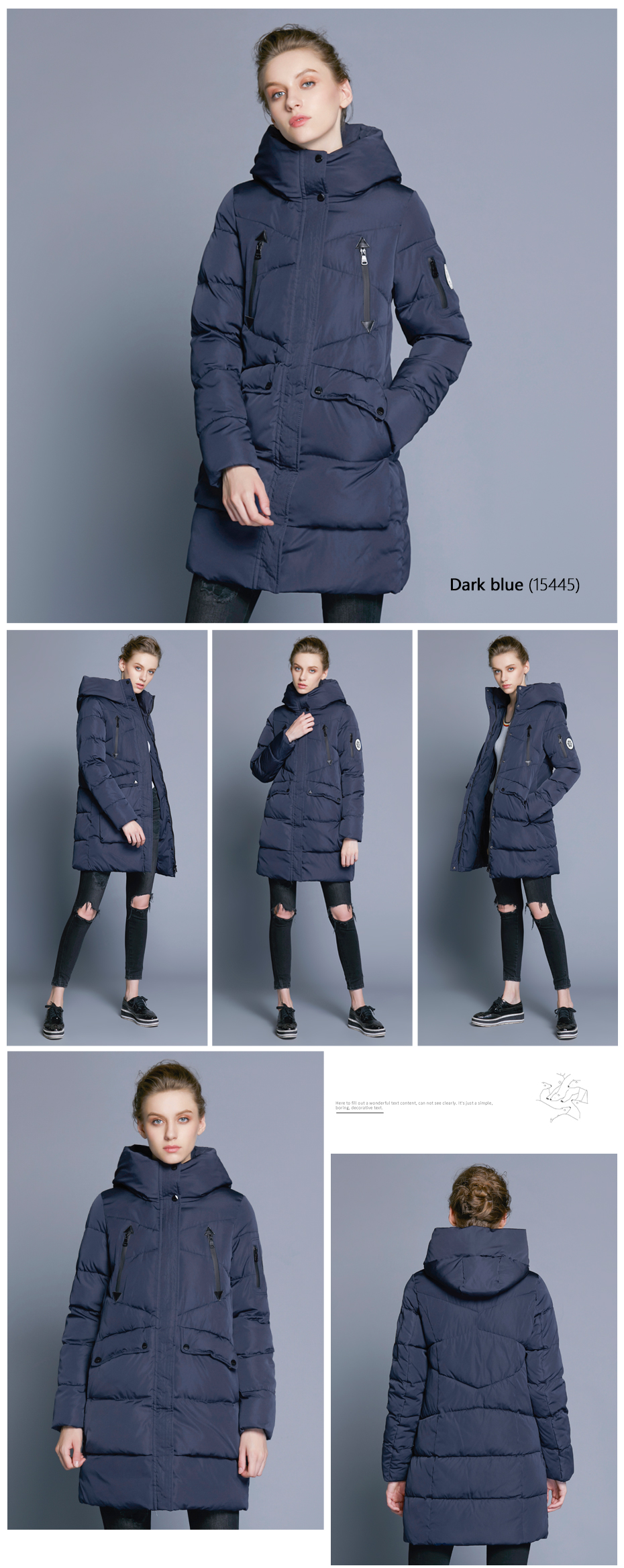 ICEbear 19 New Women Winter Jacket Coat Slim Winter Quilted Coat Long Style Hood Slim Parkas Thicken Outerwear B16G6155D 8