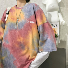 T-Shirt Top Tie Dye O-Neck Street-Harajuku Loose Creative-Design Casual Lady New-Fashion