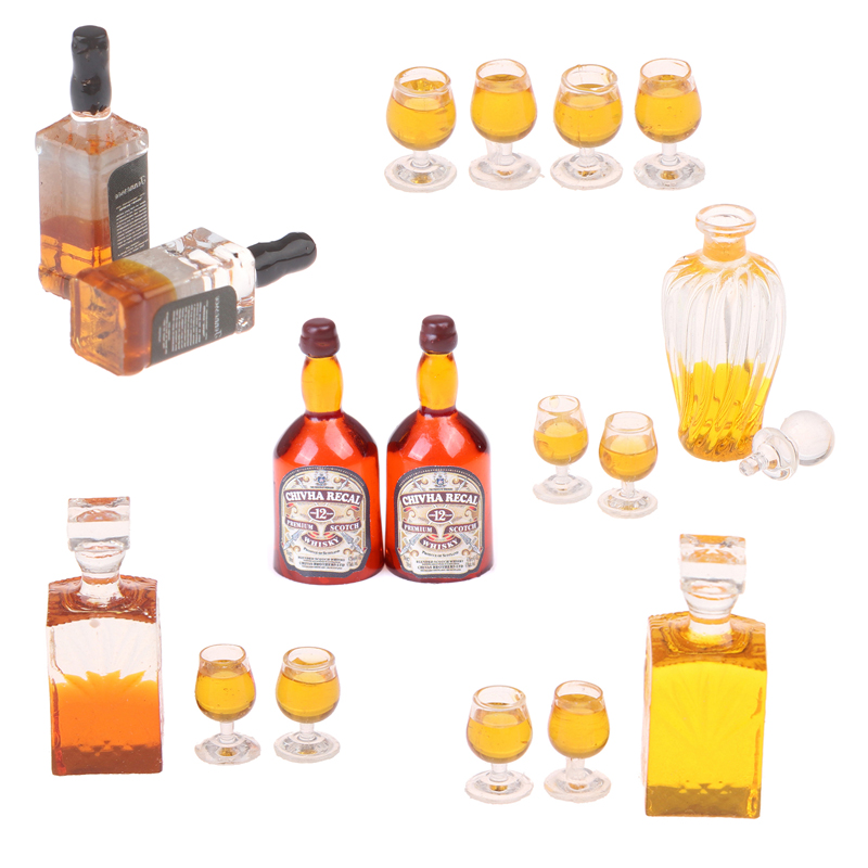 1/12 Miniature Whiskey Bottle Wine Bottle Dollhouse Accessories Mini Resin Bottle Simulation Model Toys For Doll House