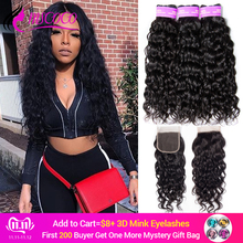 Mscoco Hair Bundles Closure Weave with Brazilian-Hair