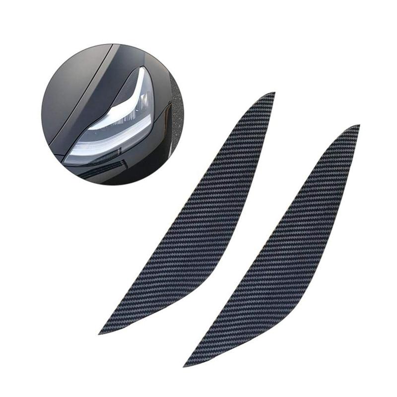 pure color 2pcs Carbon Fiber Headlight Eyelids Deluxe Elegant Decorative Headlight Eyebrow Headlight Eyebrow