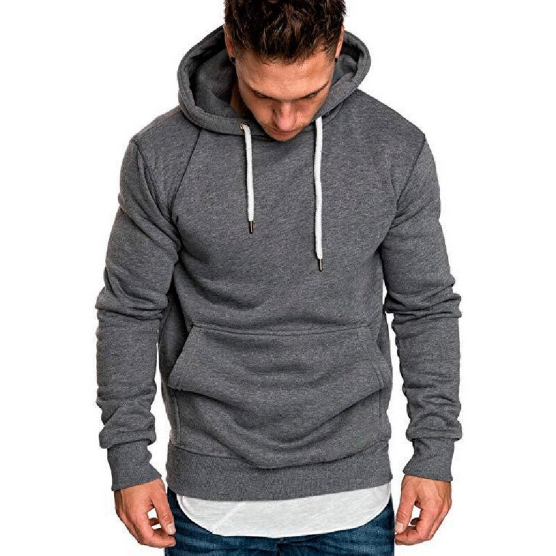 LITTHING Men 2019 Autumn Winter Casual Sweatshirt Hoodies Long Sleeve Hooded Solid Color Tracksuits Outwear Hoodies Men Clothes