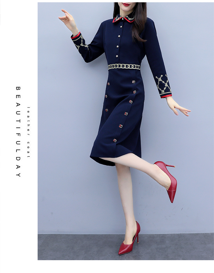 Women Elegant Blue A-Line Vintage Dress