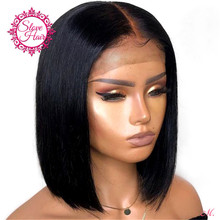Short Bob Wig Human-Hair-Wigs Lace-Front Bleached Knots Natural-Black Straight Women