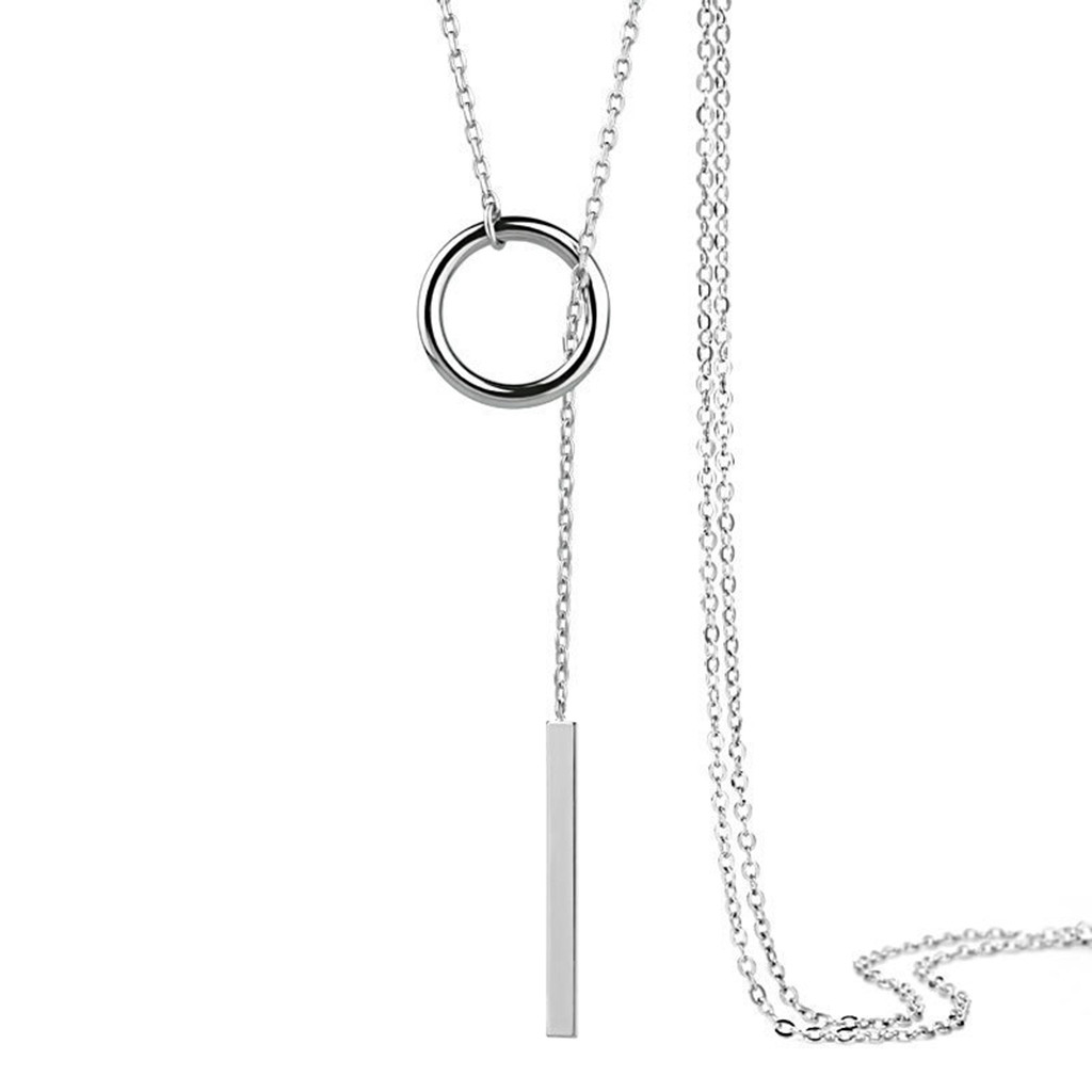 Western style metal necklace simple metal ring long rod lasso necklace bohemian style women