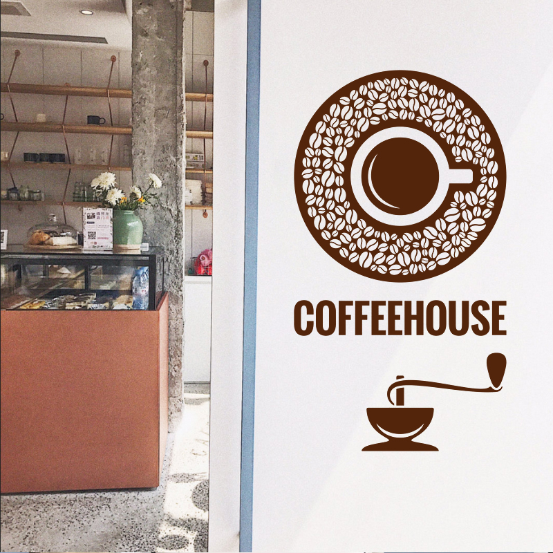 Milk tea Coffee Shop Cafes Ice Cream Bread Cake Kitchen Wall Art Removable Sticker Decal DIY Home Decoration Mural Decor