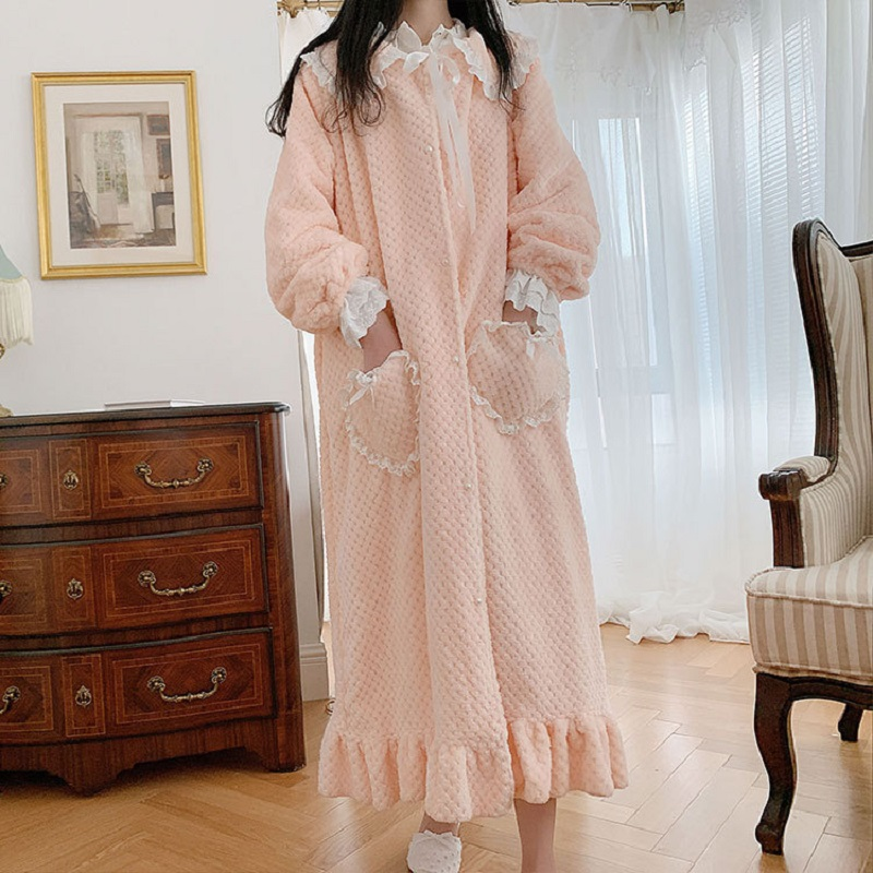 Autumn Winter Soft Warm Sweet Women/'s Thick Flannel Robe Vintage Princess Bow Big Pocket Plus Size Loose Nightwear Pink /Purple