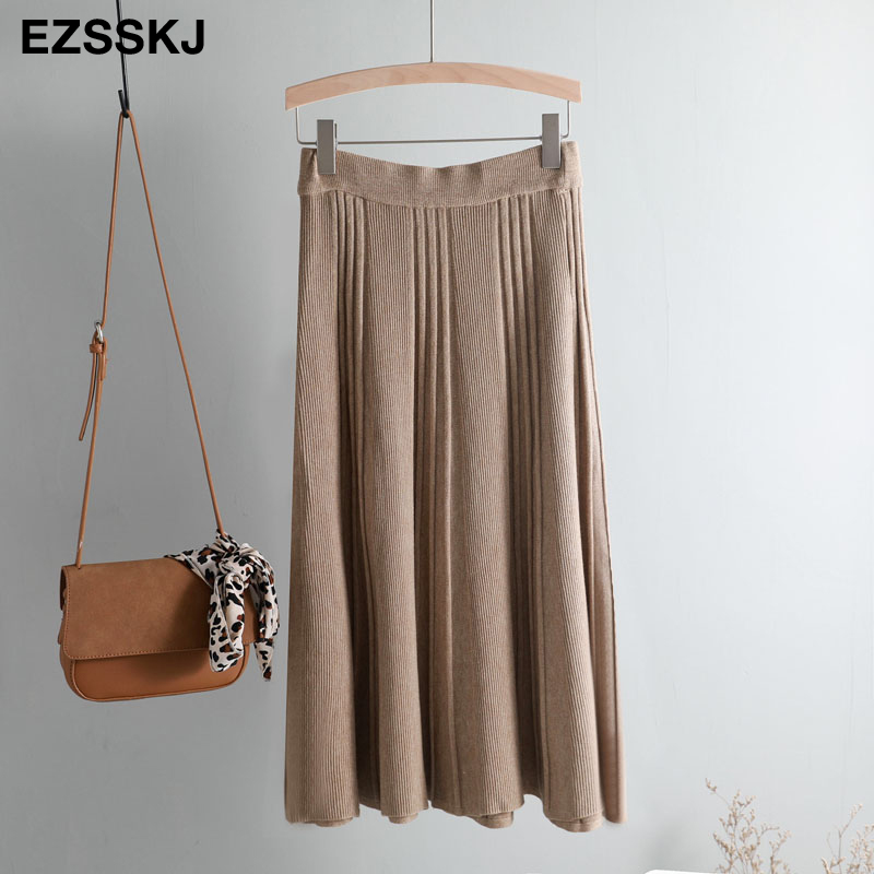 Vintage Winter Women thick sweater skirt Elastic High Waist Pleated Midi knitted Skirt A-line female solid elegant Skirts 22