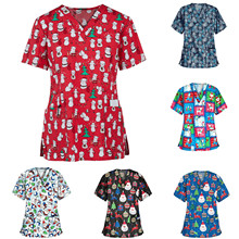 Uniforme Navidad Christmas-Blouse Q5 Nurse Women Overalls Tops V-Neck Enfermera Short-Sleeve
