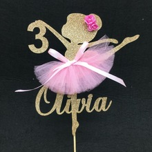 Party-Decoration Birthday Cake Ballerina Toppers Tutu Shower Glitter Girl Baby Personalize