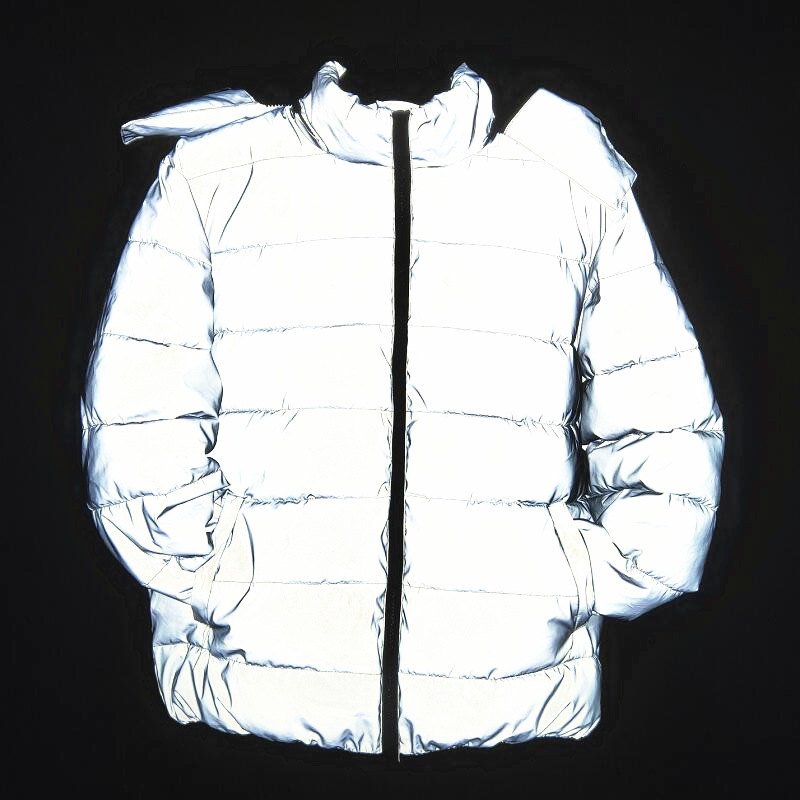 Reflective Down Coats Men Fashion Winter Thick Pullover Night Reflection Coat Ins Male Warm Loose Zipper Outwear Hooded Clothing