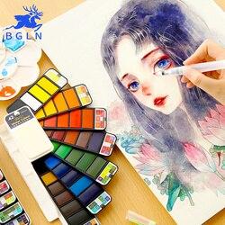 BGLN портативные однотонные акварельные краски в наборе с краской кисти яркие цвета Акварельная краска пигмент набор для студентов художест...