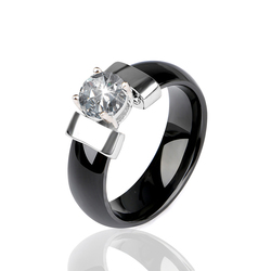 New Black Ceramic Wedding Ring 6MM Width White Bling Plus Cubic Zirconia For Women Delicate Cabochon Smooth Engagement Rings Men
