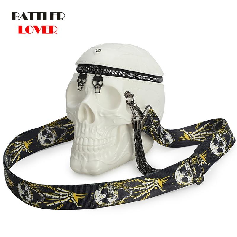 3D Skull Shoulder Bag Crossbones Messenger Bag Unisex Men Women Fashion Street Leather Zipper Handbags Punk Design Bag Drop ship